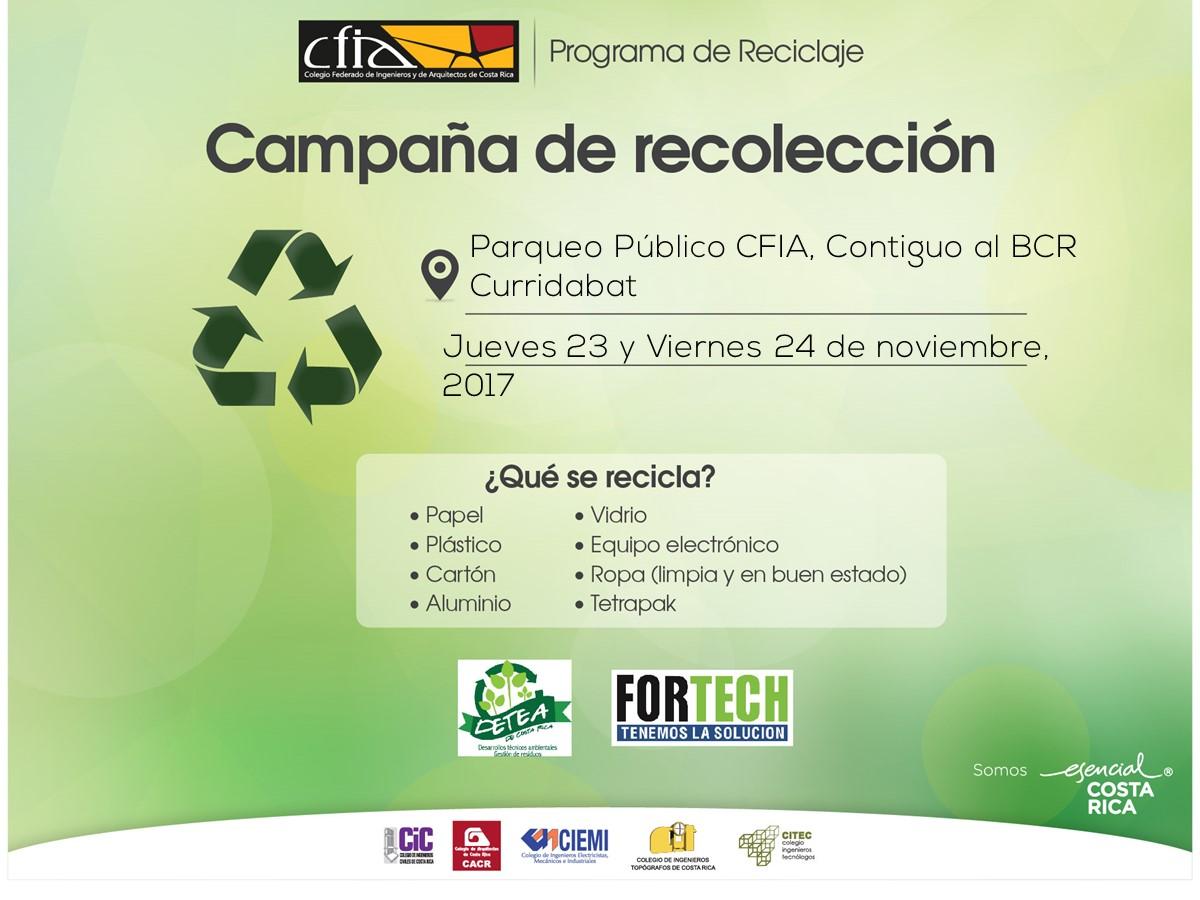 Participe de la campaña de recolección, recibimos plástico, papel, vidrio, aluminio, latón y residuos electrónicos. Parqueo Público del CFIA